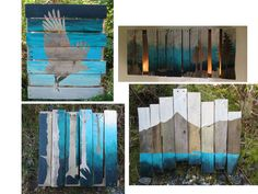 Sky ... Mountains ... Sea ... Reclaimed Wood by TheElegantArtist, $99.00 Pyramid Mountain, Kodiak Island, Bald Eagle, Ombre Painting, Pallet Art, Reclaimed wood painting, OOAK