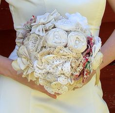 fabric bouquet with lace