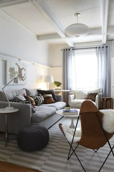 Suzie: Russet and Empire Interiors - Chic living room with Ikea Stockholm Rand Rug in Gray, ...