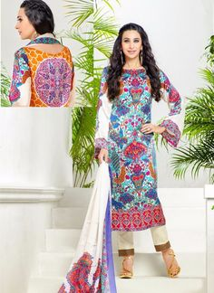 Real beauty comes out from your dressing style with this Karishma Kapoor multi colour georgette and satin designer suit. The brilliant attire creates a dramatic canvas with amazing print work. Comes w...