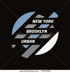 Vector illustration on the theme of New York City Brooklyn. The Geometric design. Typography t-shirt graphics poster print banner flyer postcard Shirt Print Design, Graphic Design Print, Logo Design, Custom T Shirt Printing, Banner Printing, Hang Ten, Laser Concept, Creative Typography Design, City Vector
