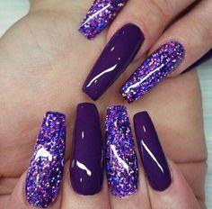 @GottaLoveDesss                                                       … Dark Purple Nails, Purple Acrylic Nails, Purple Glitter Nails, Dark Nails, Deep Purple, Long Nails, Matte Pink, Blue Nail, Glitter Nail Art