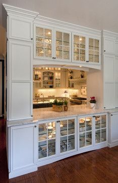 Divider between kitchen and living space glass front for U shaped kitchen dining room