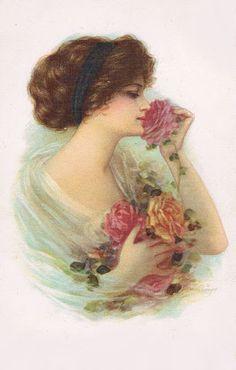 Rose lady Images Vintage, Vintage Pictures, Vintage Ephemera, Vintage Postcards, Decoupage, Victorian Art, Victorian Ladies, Victorian Pictures, Deviant Art