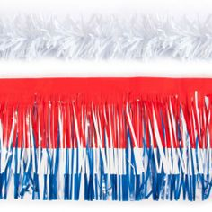 """Easy Float Patriotic Car Kit - Standard  The perfect """"Last Minute Parade Float"""". Be in the parade without having to build your own parade float! Our festive Easy Float kit for cars comes in all the popular team and school colors.  Kit includes: 3 - 15"""" x 10 ft lengths of Standard USA Fringe and 2 - 4"""" x 25 ft lengths of Standard White Twist."""