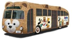 Tokyo Disney has a Duffy the Bear bus! It's covered in Duffy's (rain-proof) fur on the outside AND the inside!