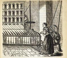 Xilografía en cabecera de una mujer trabajando con una gran máquina para tejer.