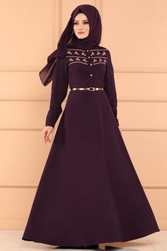 ELBİSE İnci ve Nakış Detay Elbise 5094AY342 Mürdüm Abaya Fashion, Muslim Fashion, Hijab Dress, Satin, Indian, Abayas, Couture, Gw, Wedding Dresses