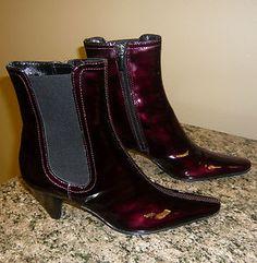 Aquatalia Marvin K Italian Patent Leather Ankle Boots Wine Burgundy ~ COOL Colour