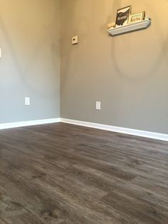 Floors: Stainmaster, luxury vinyl plank, burnished oak fawn (Lowes) // Paint: Sherwin Williams, Mindful Gray