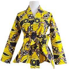 Diola Aqua Circles African Print Ankara Long Sleeve Shawl Collar Peplum Blazer