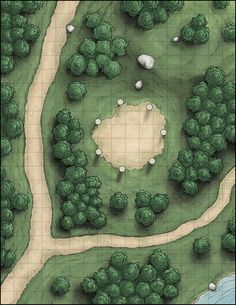 "venatusmaps: ""A battle map for a treaty circle used by the local village to meet with the spirits of the forest. In our campaign, those pillars could be hit and made a sound; hit them in the right..."
