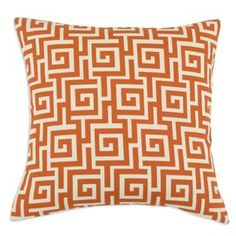 Greek Key Pillow in Orange - Set of 2