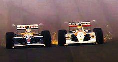 Mansell in the Williams-Renault FW14B vs. Senna in the McLaren-Honda MP4-7