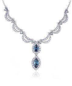White & London Blue Topaz Contour Pendant Necklace | Daily deals for moms, babies and kids