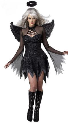 Sexy Fallen Darkness Angel Costume Lady Gothic Black Fairy Tales Cosplay Outfit Women Steampunk Halloween Fancy Dress Up Uniform
