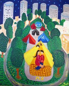 Adi Lev - Love in tent Naive Art, Artist Gallery, Artist Painting, New Friends, Yoshi, Folk Art, Israel, Tent, Galleries