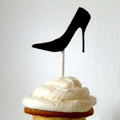 Cupcake topper Stiletto on a stick black by KittyDuneCuts on Etsy, $1.00