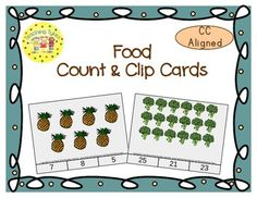 These cards are terrific for Math Centers – A Hands-On Activity your kiddos will love!  Food Count & Clip Cards practice counting numbers 1 – 30.  WOW, numbers 1 – 30!