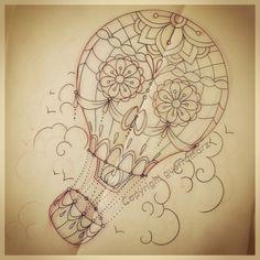 Skull design hidden in the hot air balloon Pin Up Tattoos, Great Tattoos, Skull Tattoos, Tatoos, Air Balloon Tattoo, Tattoo Artwork, Desenho Tattoo, Different Tattoos, Flash Art