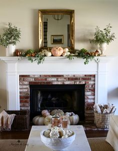 Romantic Fall Mantel in Shades of Burnished Copper! Use Pink Pumpkins and Greens for a Pretty Autumn Mantel---> Fall Home Decor, Autumn Home, Home Decor Trends, Soft Autumn, Decor Ideas, Autumn Mantel, Fall Mantels, Fall Living Room, Autumn Decorating