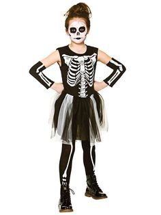 Skelebones Tutu Dress Girls Fancy Dress Skeleton Kids Childs Halloween Costume