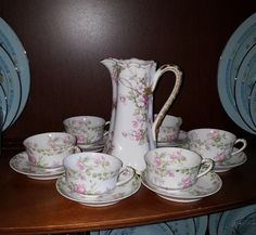 HAVILAND & Co France Limoges Chocolate Pot plus 6 Cups & Saucers #Haviland