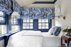 Lynn Chalk - Bedroom Roman Shades in Alan Campbell Ferns in Blues Beige on Tint for Quadrille (Sara Gilbane House Beautiful Feb. 2014), $550.00 (http://store.lynnchalk.com/bedroom-roman-shades-in-alan-campbell-ferns-in-blues-beige-on-tint-for-quadrille-sara-gilbane-house-beautiful-feb-2014/)