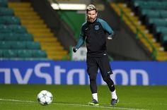 Barcelona's Argentinian striker Lionel Messi attends a training session at Celtic Park stadium in Glasgow on November 22 2016 ahead of their UEFA...
