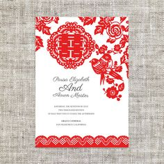 DIY Printable Editable Chinese Wedding Invitation RSVP Card Template Instant Download_Red Paper Cut Lace Traditional 婚禮喜帖 喜喜Double Happiness