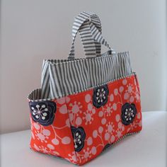 Amy Reber Designs www.amyreber.com LOVE this TOTE!  Large Orange and Navy 14 Pocket Project Tote Bag  from Watermelon Wishes #totes #textiledesign #fabric @awatermelonwish