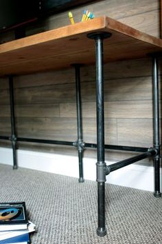 RYOBI NATION - DIY - Industrial Pipe & Wood Desk - They say that necessity is the mother of invention, and this easy DIY desk is no exception! My son, - Industrial Pipe Desk, Industrial Interior Design, Vintage Industrial Furniture, Industrial House, Industrial Kitchens, Industrial Interiors, Industrial Shelving, Industrial Office, Industrial Lighting