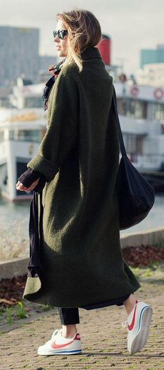 Wear the maxi coat trend like Christine R with a pair of cute sneakers, cigarette trousers, and a tartan scarf to accessorise. Maxi Coat: Designed by Christine, Trousers/Bag: COS, Sneakers: Nike.... | Style Inspiration