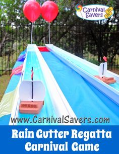 Rain Gutter Boat Races - fun carnival game for school carnivals, church carnivals and outdoor fun for kids!