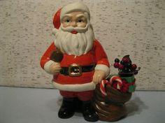 Handmade Vintage Santa With Football / Ceramic Santa by fiordalis