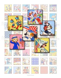 4th of July Digital Collage Sheet of one inch by RetrofairGraphics