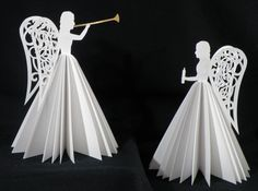 These angels are construced from light weight card stock. They were cut on my KNK Maxx and assembled using glue and a sewing machine. Gold vinyl was cut in the shape of the herald trumpet to add … Continue reading → How To Make Christmas Tree, Easy Christmas Crafts, Christmas Paper, Christmas Angels, Simple Christmas, Christmas Projects, Christmas Tree Decorations, Christmas Holidays, Christmas Ornaments