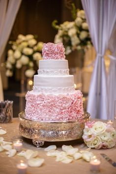 Pink Ruffle Wedding Cake, Pink and White, Southern Event Planners, Memphis Weddings
