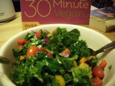 Rainbow Kale Salad #rawfood