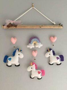 Unicorn Driftwood Mobile by HeartFELTHangables on Etsy Baby Crafts, Felt Crafts, Fabric Crafts, Sewing Crafts, Diy And Crafts, Sewing Projects, Crafts For Kids, Felt Baby, Felt Patterns