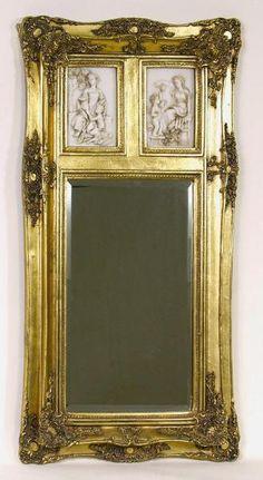 Gold Frame Wall Mirror with Cherub Inserts