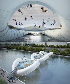 Trampoline Bridge in Paris, France