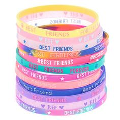 We know your girl gang is the best, and now you can all rock coordinating bracelets to represent your squad! This set of rubber bracelets features 12 different designs to fit any personality! Bff Bracelets, Rubber Bracelets, Friendship Bracelets, Beaded Bracelets, Silicone Bracelets, Best Friend Jewelry, Best Friend Gifts, Rainbow Band, Toy Cars For Kids
