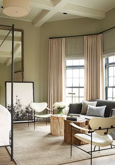 fetching image of bedroom decoration using sage green | Warm sage green living room with rusty orange. See website ...
