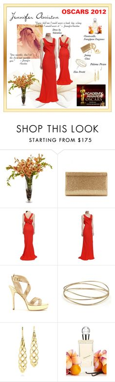 """""Keep it Simple"" says Jennifer Aniston"" by pixidreams ❤ liked on Polyvore featuring Neiman Marcus, Jimmy Choo, Valentino, Elsa Peretti, Tiffany & Co., Chantecaille and oscars 2012 academy awards 2012 red carpet 2012 jennifer aniston red gown by valentino re"