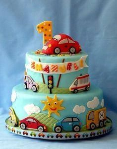 Children's Birthday Cakes - Birthday boy very keen on cars and trucks. There was also a smash cake. Bottom tier vanilla cake with raspberry IMBC and fresh raspberries, top tier blueberry IMBC with fresh blueberries. Truck Birthday Cakes, Boys First Birthday Cake, Birthday Cupcakes, Happy Birthday, Car Cakes For Boys, Cake Designs For Boy, Rodjendanske Torte, Themed Cakes, Party Cakes