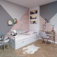 Contemporary children& room made of pink, white, beige wood: inspiration for . - Contemporary children& room made of pink, white, beige wood: inspiration for the contemporary - Woman Bedroom, Teen Bedroom, Modern Bedroom, Bedroom Wall, Bed Room, Girls Bedroom Mural, Diy Bedroom, Bedroom Decorating Tips, Bedroom Ideas