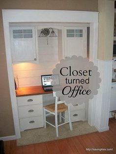 Lots of great ideas for turning a seldom used closet into a home office.