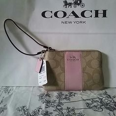 "NWT Coach Wristlet Cutie pie pink striped with ""C"" background. Perfect for summer! Coach Bags Clutches & Wristlets"