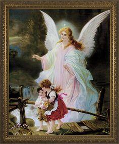 """Guardian Angel on the Perilous Bridge Framed Image 12"""" x 16""""$70.00 #Catholic #CatholicGifts"""